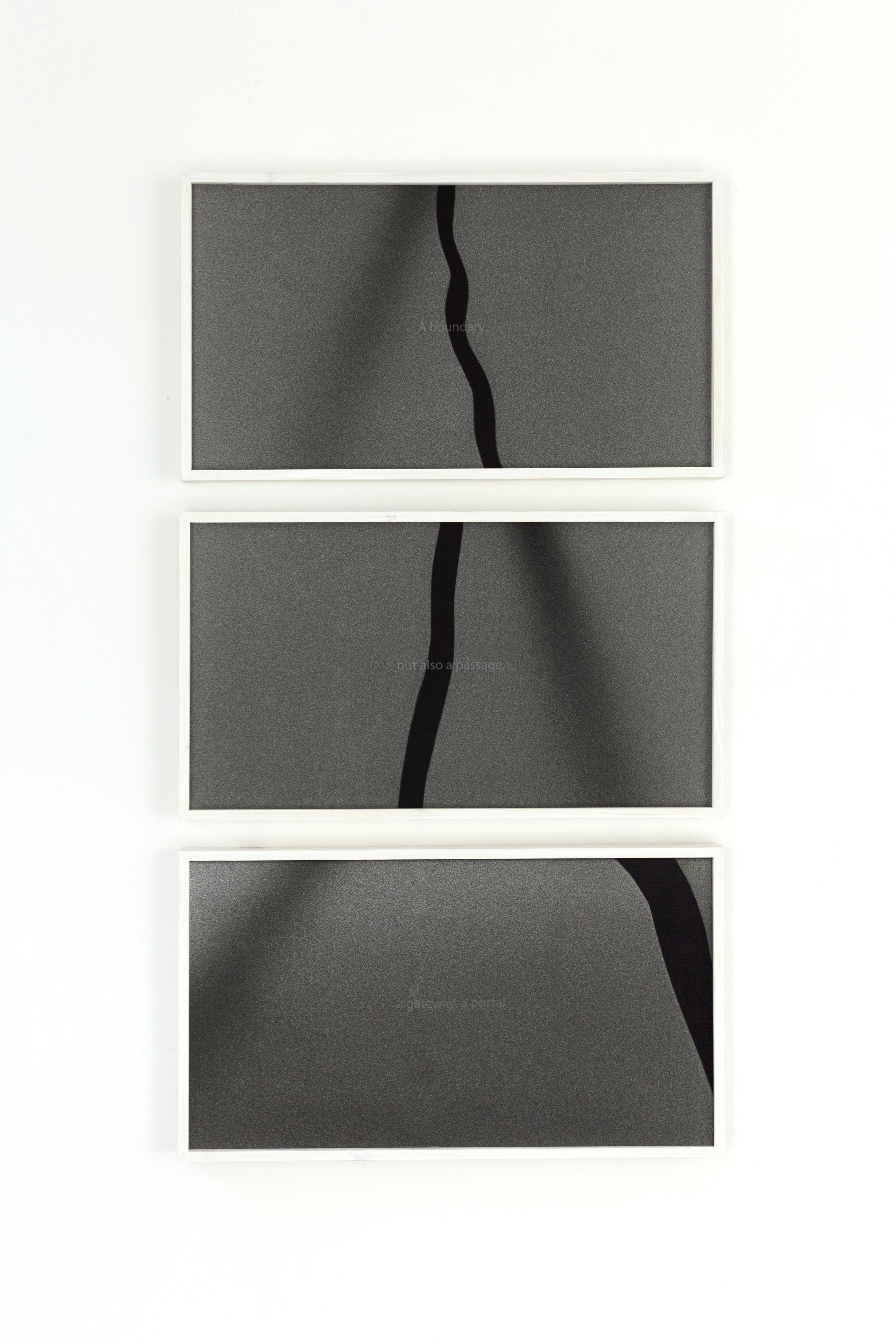 """A boundary "" 70x39,5cm, ink jet print in artistframe; ""but also a passage"" 70x39,5cm, ink jet print in artistframe; ""a gateway, a portal. 70x39,5cm, ink jet print in artistframe; by Stephan Lugbauer"