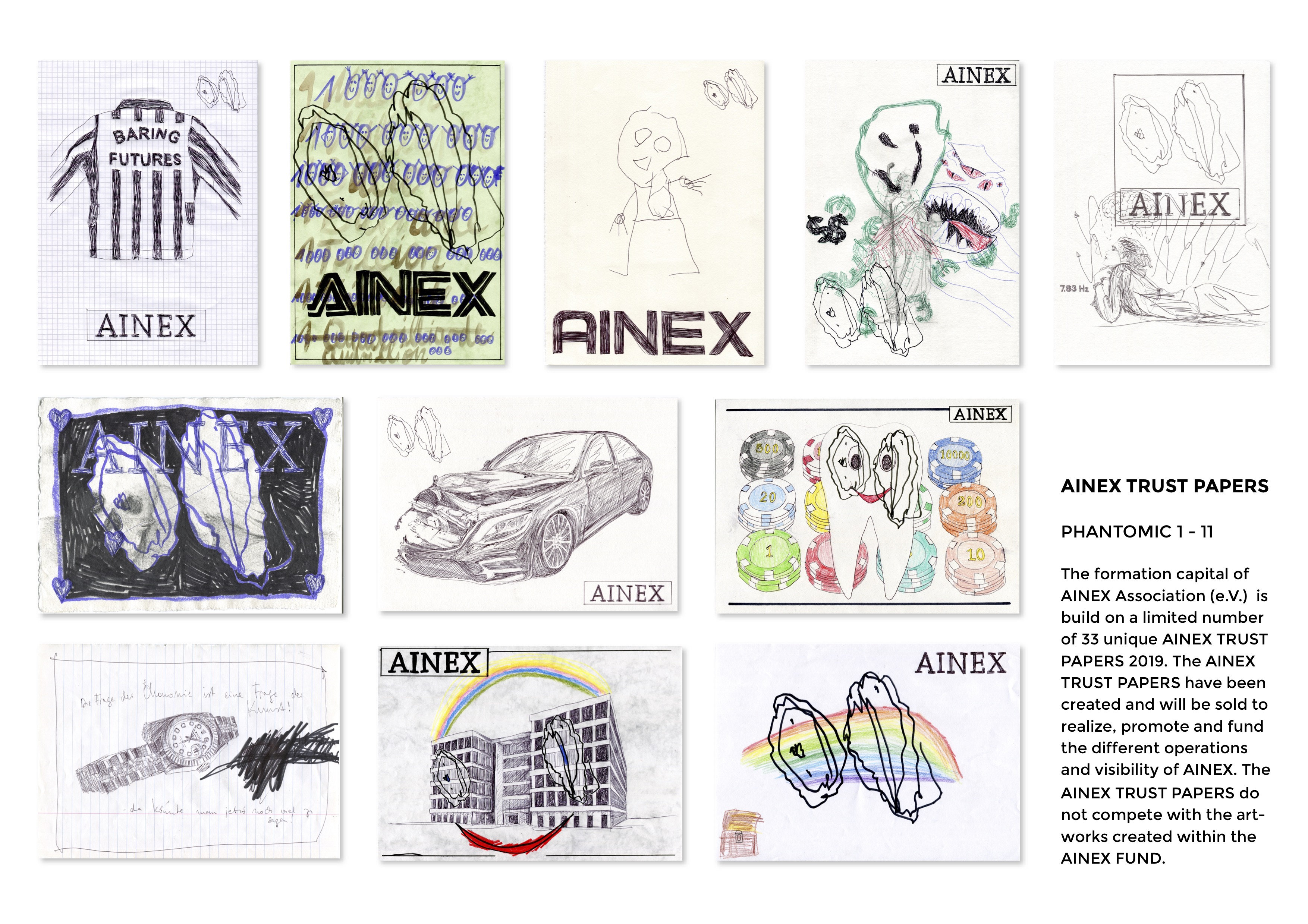 AINEX, Trust Papers, PHANTOMIC 1–11, 2019, some are still available, à Euro 99,-