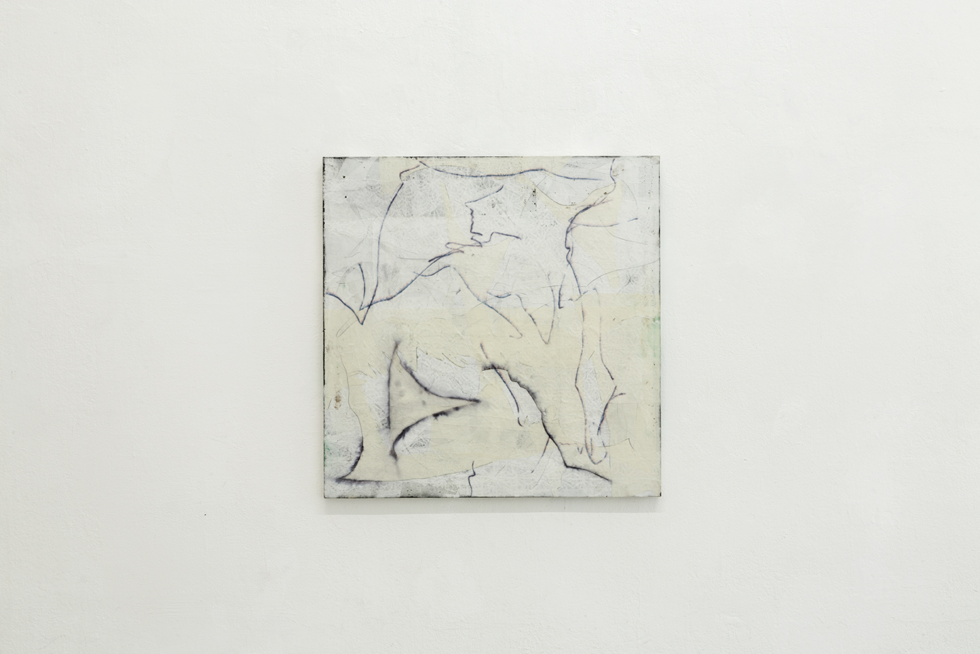 Nora Kapfer, untitled, 2018 bitumen, oil, felt pen and paper on wood, 61 x 60 cm