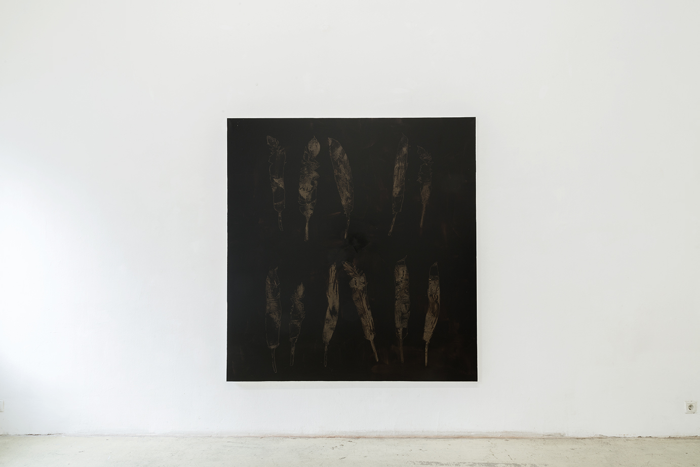 Nora Kapfer, untitled, 2018 bitumen on canvas, 190 x 180 cm