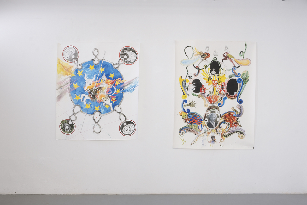 Cathérine Lorent, Fatum Europae / Reminiscence (Germania), ink, gouache on paper, 150x120 cm each