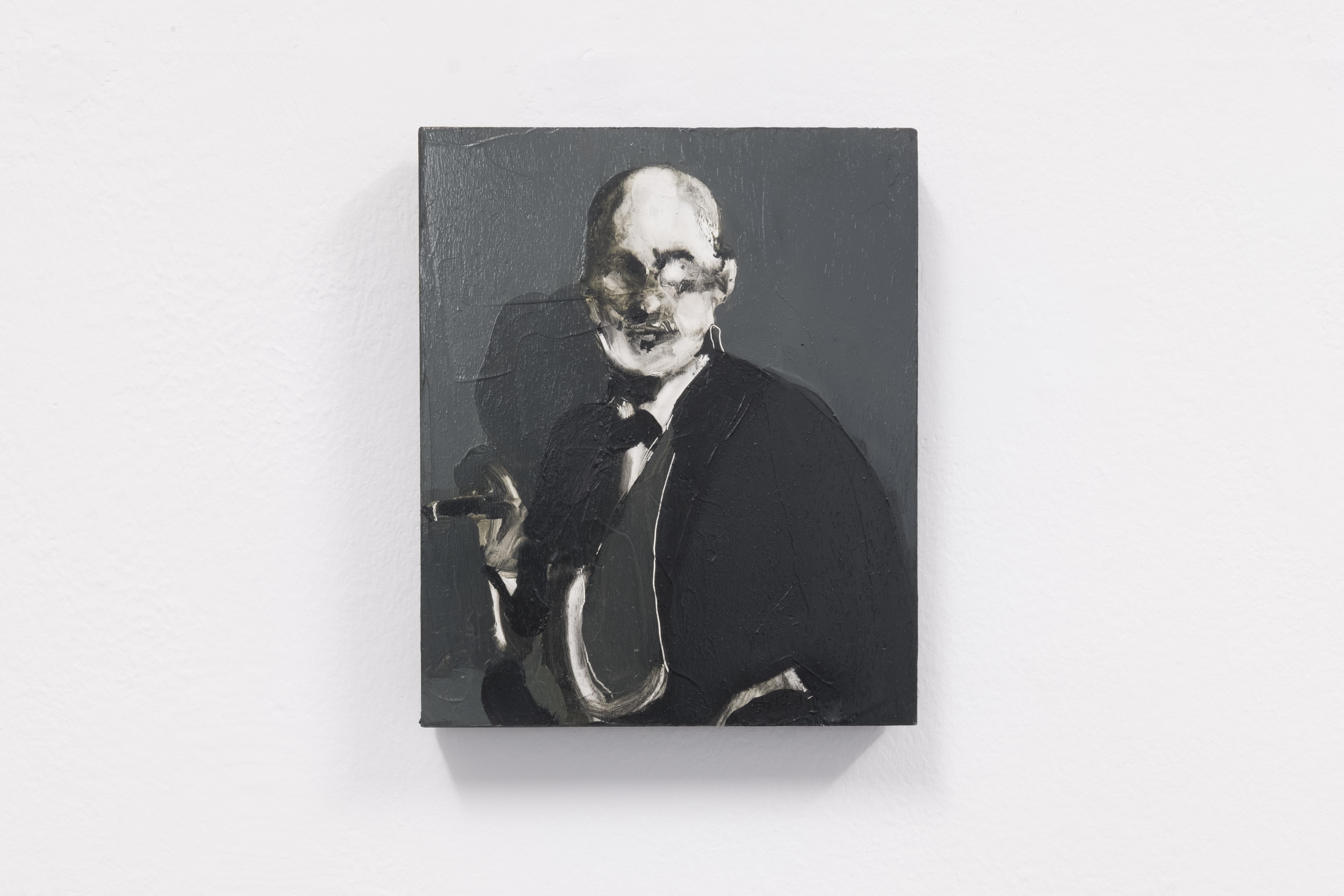 "Installationsansicht Curved Arrows, George Stamatakis "" Sigismund Schlomo Freud"" Oil paint on wood, 2018"