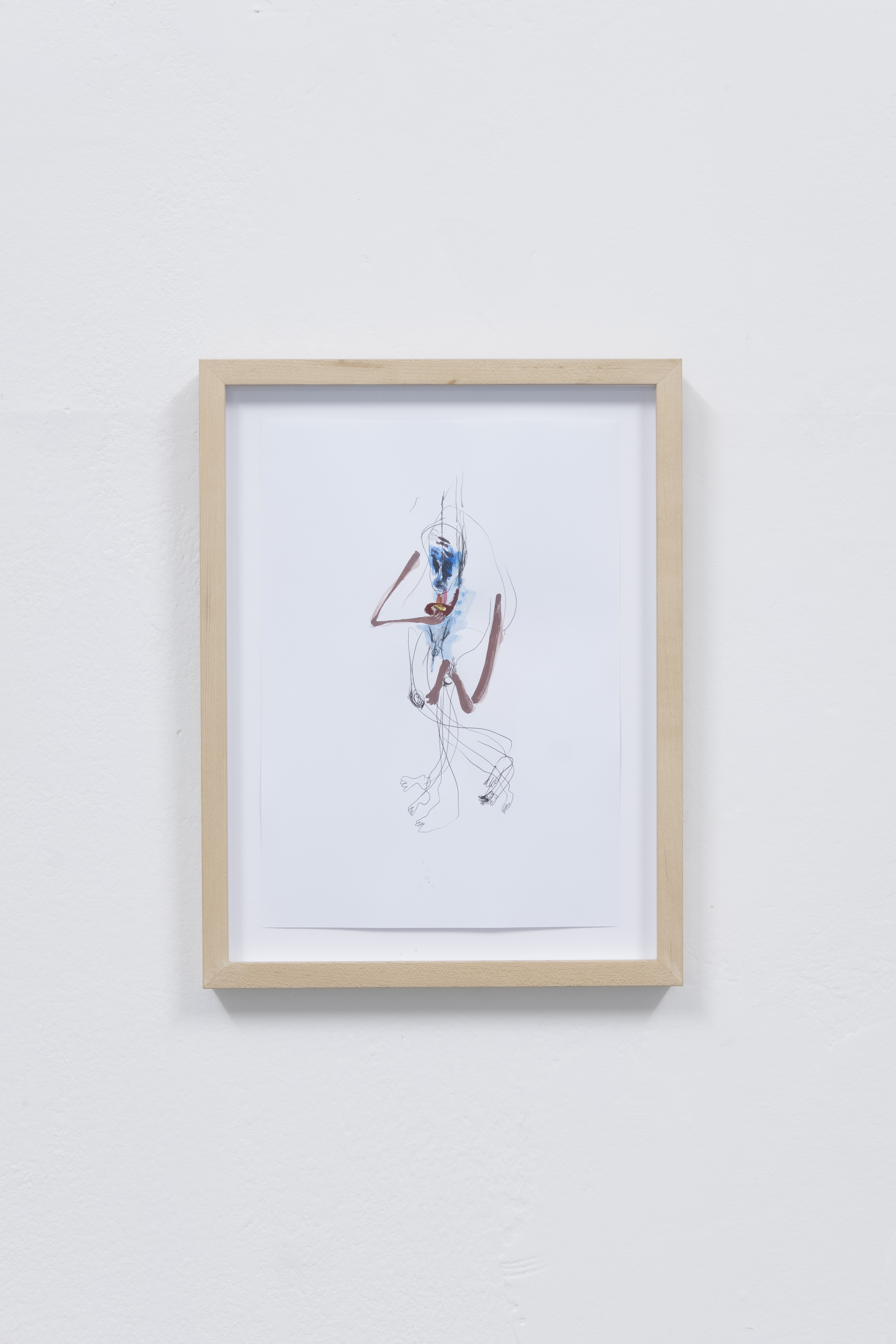 Installationsansicht Curved Arrows, Georgia Sagri, Untitled (hands and legs) Ink and colour on paper, 2019