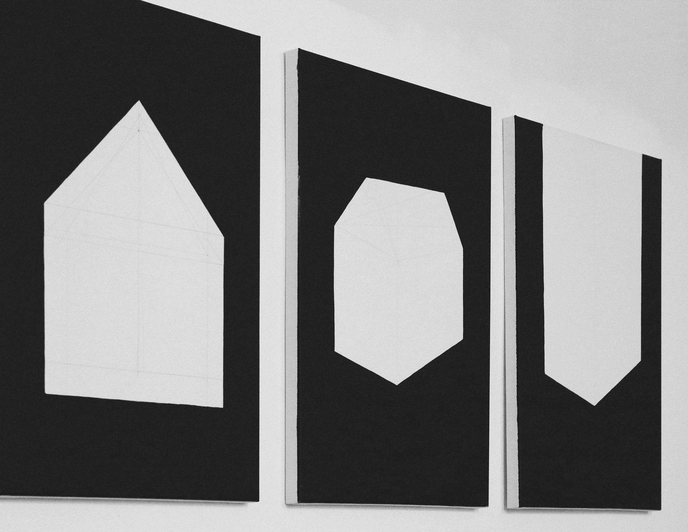 Jürgen Bauer, House (Deconstruction), 2018, Acryl auf Leinwand, je 100 × 70 cm