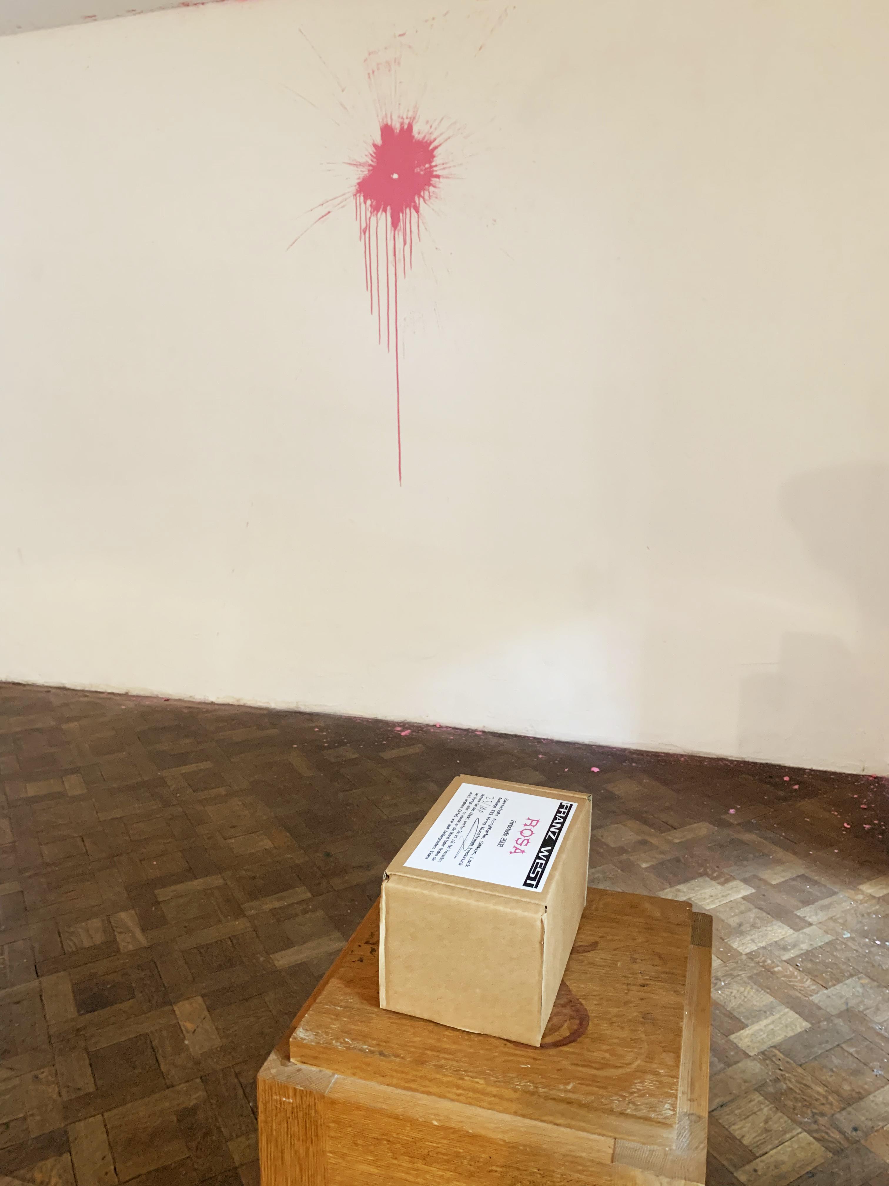 Ausstellungsansicht, EIN PASSSTÜCK, Edition Farbstudie Rosa, Büro Weltausstellung, 2019