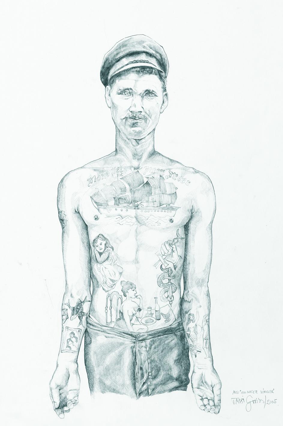 """Trixi Groiss, OT, aus der Serie """"100 nackte Männer"""", 2002-2006, Bleistift auf Papier, 42 x 29,7 cm"""