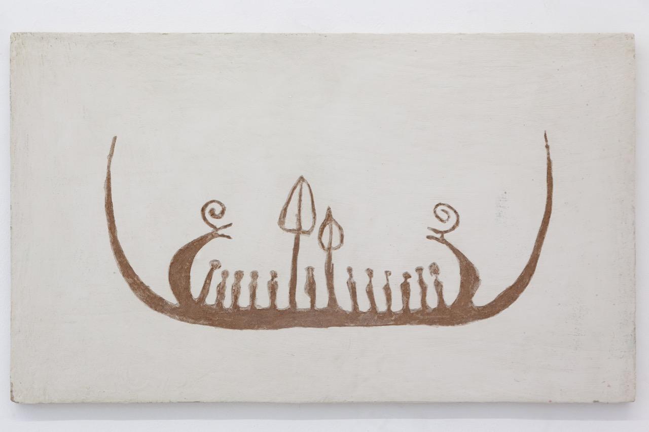 NINO STELZL, OT (Boot 2), Klebespachtel auf Holz, 58 x 97 cm, 2018
