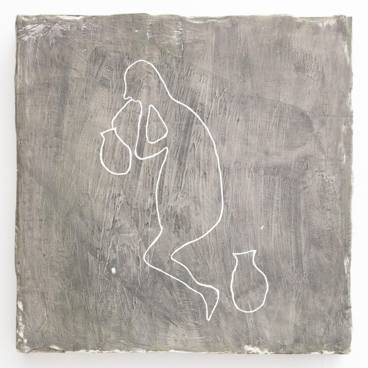 NINO STELZL, OT (Zyklus), Lebespachtel uaf Holz, 40 x 40 cm, 2018