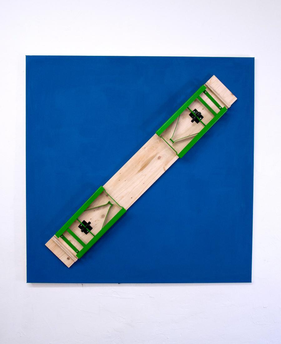 """Martin Grandits, """"Deutsche Bank"""", Bank auf Leinwand, 150 x 150 cm, 2015"""
