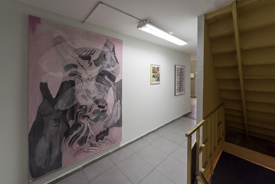 """""""moi non-moi"""" or """"carrying owls to athens"""", Ausstellungsansicht: Sofia Stevi, Nino Stelzl (Foto: Simon Veres)"""