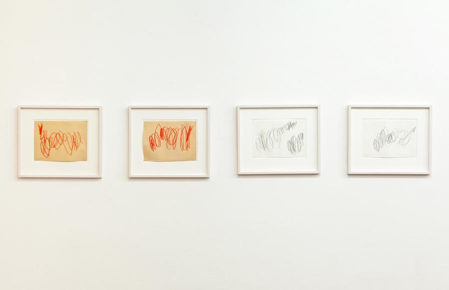 Informelle Zeichnungen, rote Ölkreide / Bleistift auf Papier, 1960