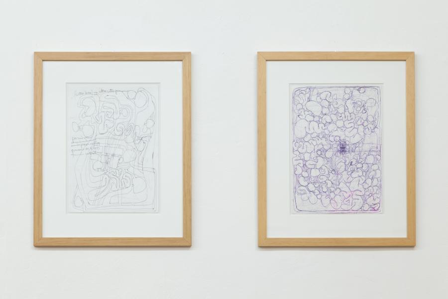 Architekturzeichnungen, Kugelschreiber auf Papier, 1982 und 1993