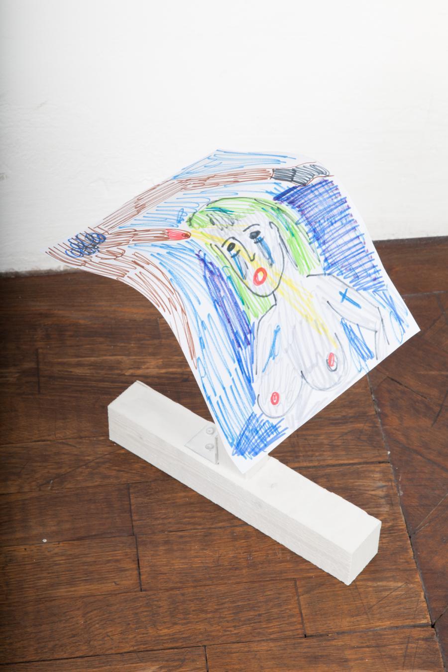 """Rade Petrasevic """"Edition"""" (1), Unikat, 36 cm, Zeichnung auf Holzkonstruktion, 2015, € 550,-"""