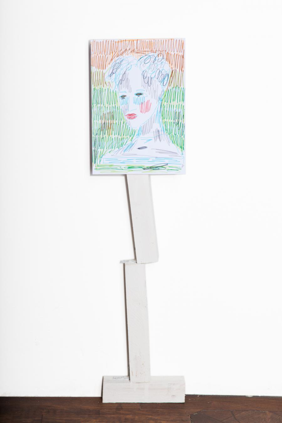 """Rade Petrasevic """"Edition"""" (2), Unikat, 85 cm, Zeichnung auf Holzkonstruktion, 2015, € 850,-"""