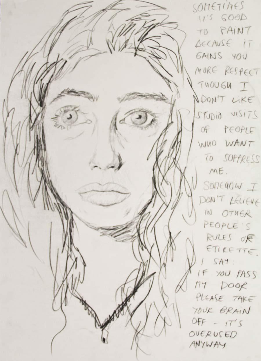 """Sometimes it`s good"", 1997, 70x50cm, black chalk on paper"