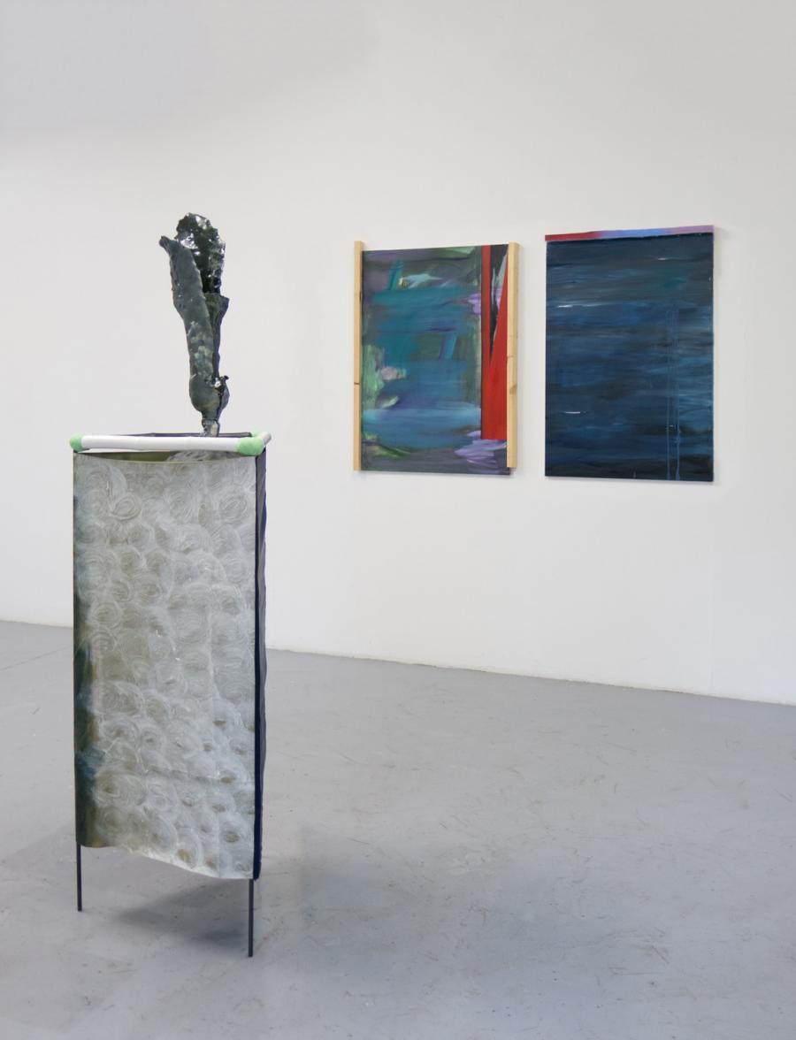 Installationsansicht, Ausstellung BLUE BAYOU, Kunstraum am Schauplatz, 2017, Foto: Christopher Steinweber