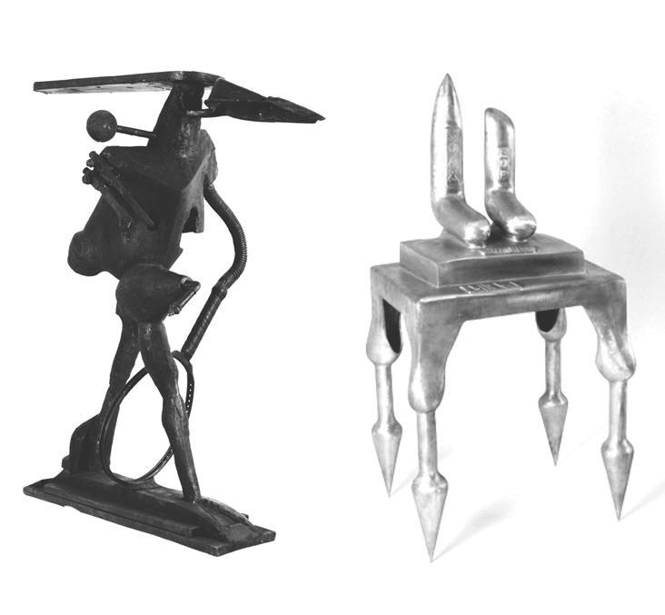Skulpturen von Begi Guggenheim (links) & Bruno Gironcoli (rechts)