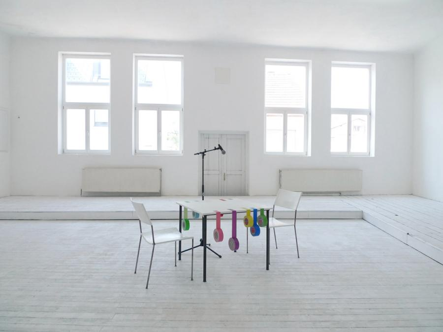 for a while, who knows how long - general view #1 performance situation - table and chairs by franz west