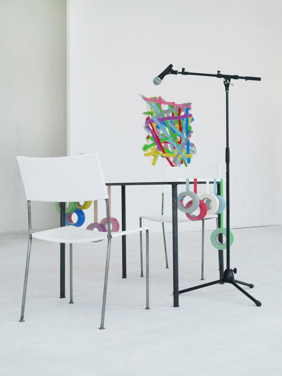 for a while, who knows how long - general view - performance situation - table and chairs by franz west - by marina faust and sonia leimer
