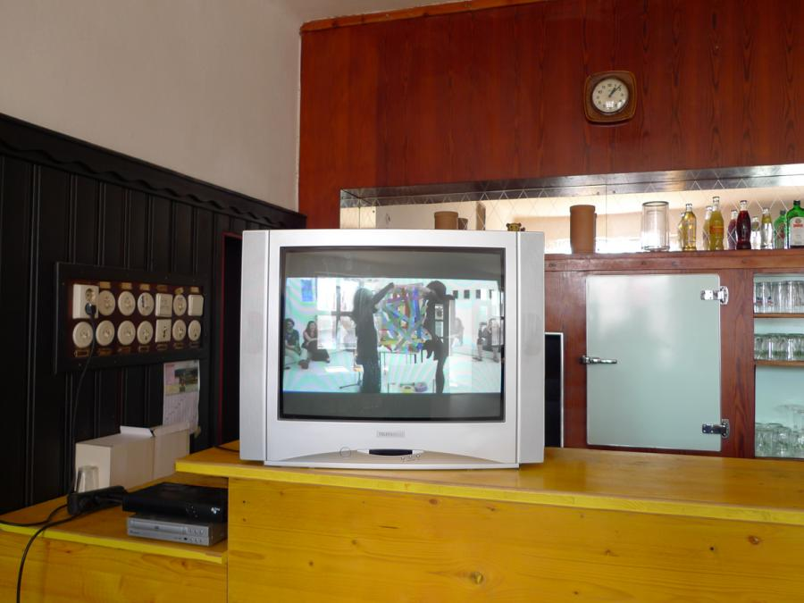 for a while, who knows how long - general view - video on monitor of performance by marina faust and sonia leimer