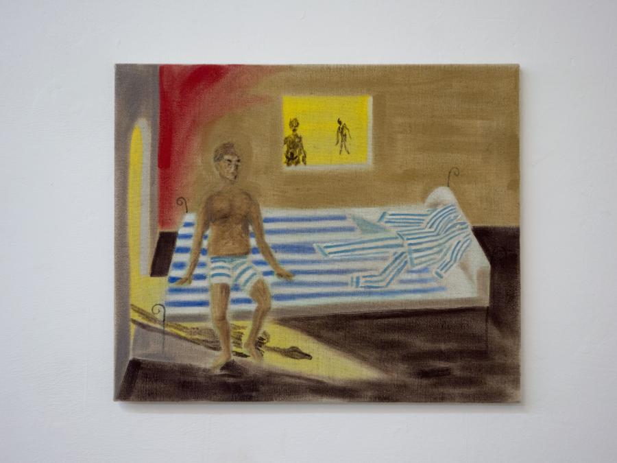 ANDREAS HÖHNE Herbei, Herbei... Herein, Herein... Öl, Kreide auf Leinwand 50 x 60 cm 2018