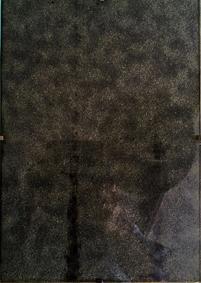 art work BLINDER SPIEGEL tar paper, picture holder, 30 x 21 cm, 2017
