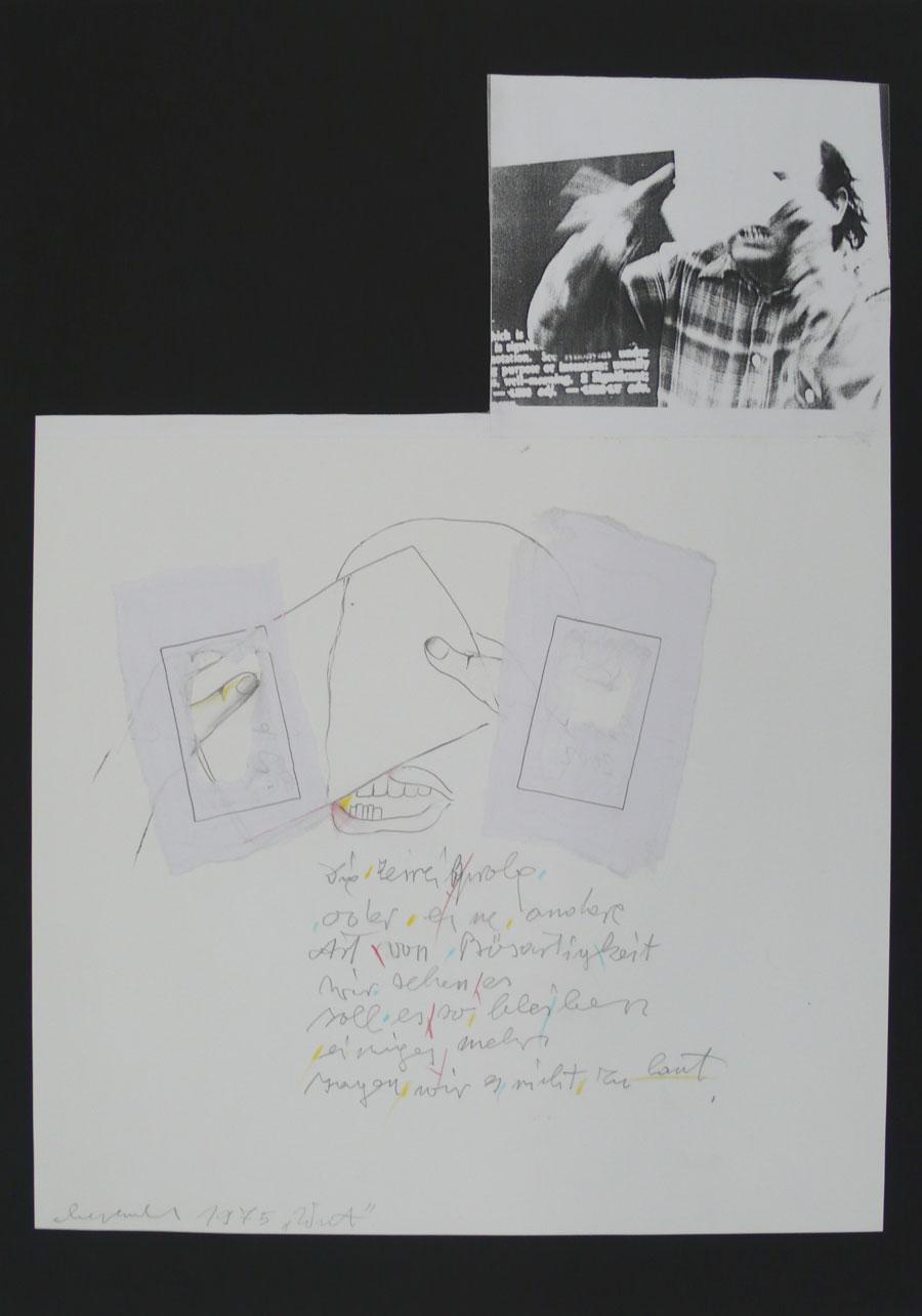 """""""WUT"""", 1975, 70 x 49,5 cm, Mischtechnik auf Papier"""