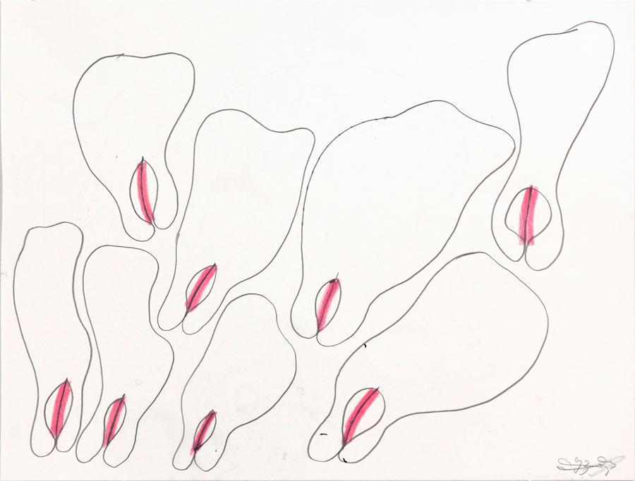 """""""WIE IST ES"""", 1993, 42 x 55 cm, Buntstift auf Papier"""