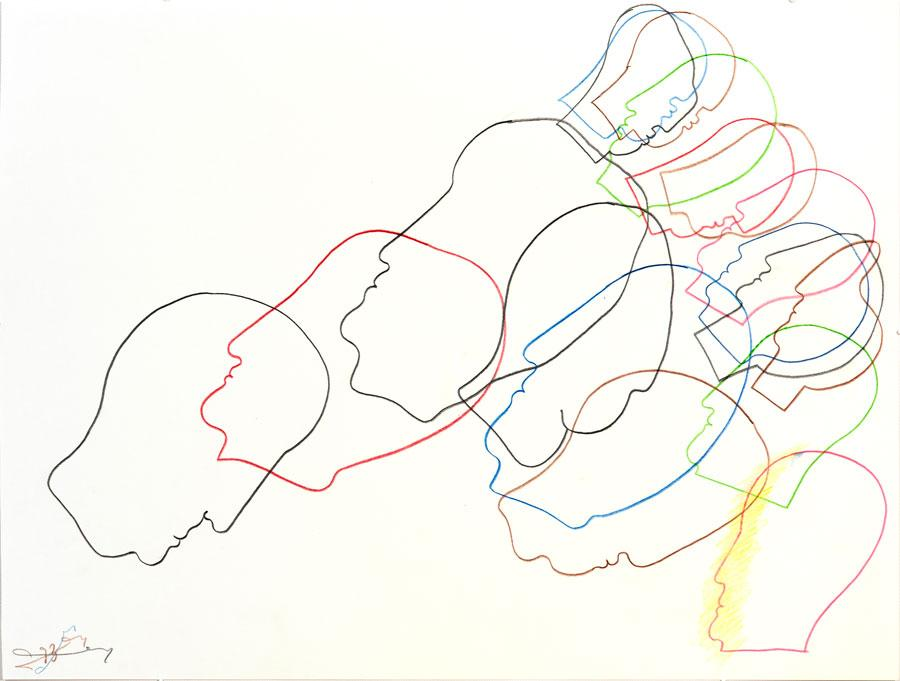 """""""BUNTE KÖPFE"""", 1993, 42 x 55 cm, Buntstift auf Papier"""