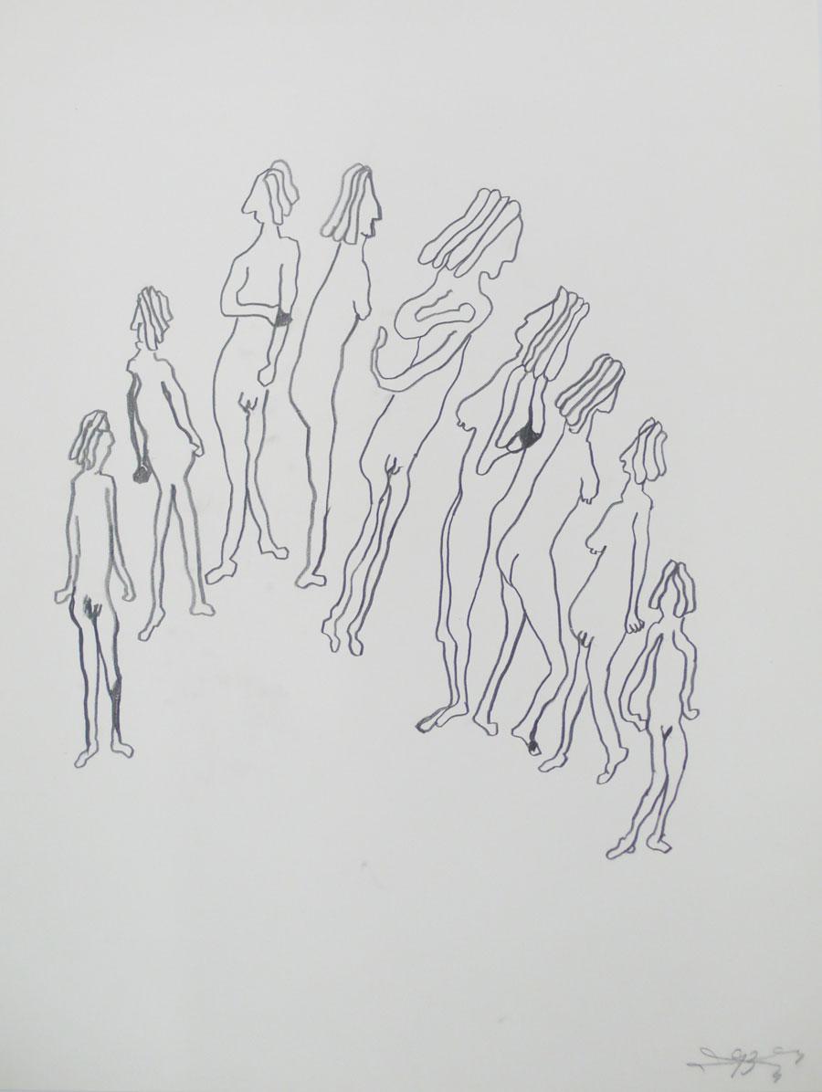 """""""FRAUEN"""" 1993, 55 x 42 cm, Bleistift auf Papier"""