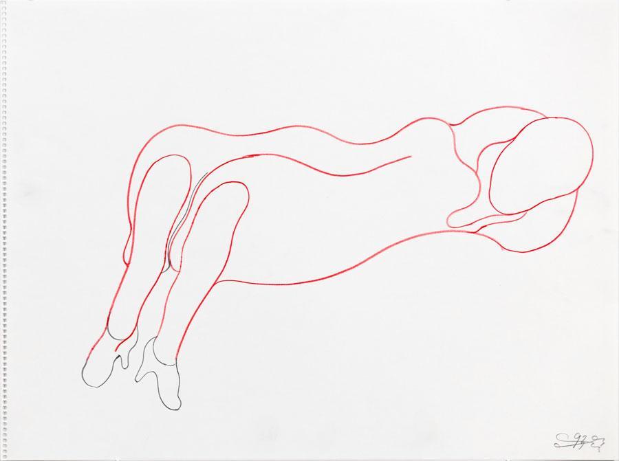 """""""RUHE"""", 1993, 42 x 55 cm, Buntstift auf Papier"""