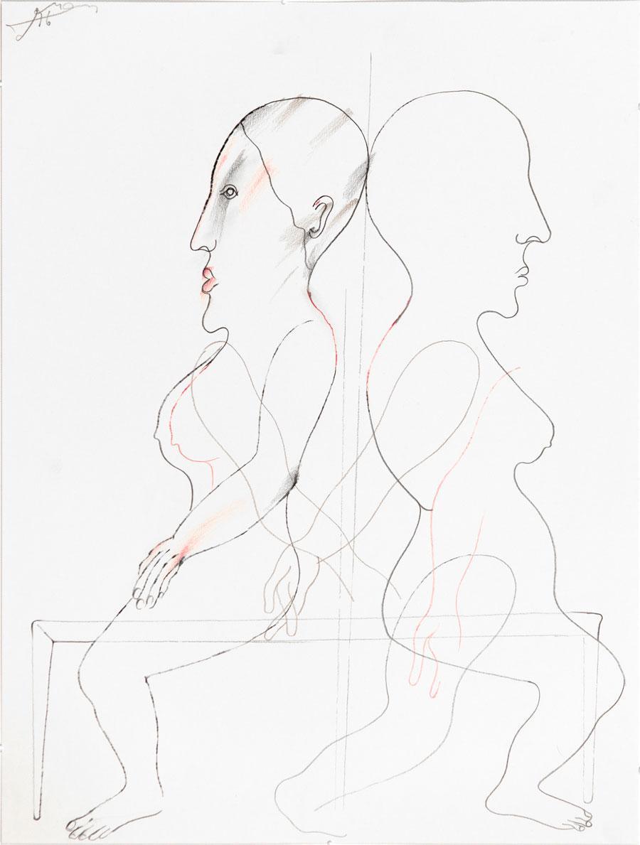 """""""ZWEI"""", 1996, 55 x 42 cm, Buntstift auf Papier"""