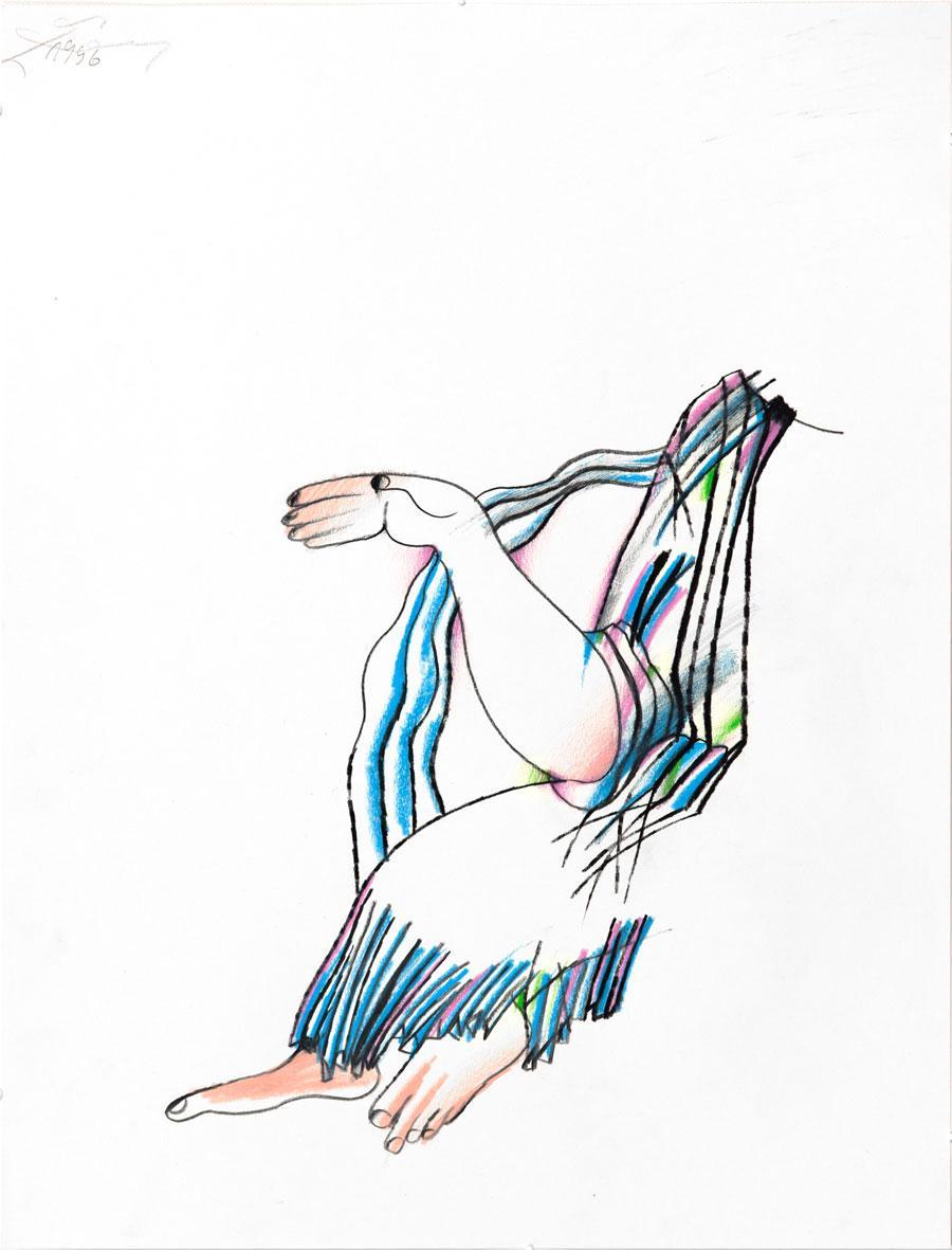 """""""KLASSE"""", 1996, 55 x 42 cm, Buntstift auf Papier"""