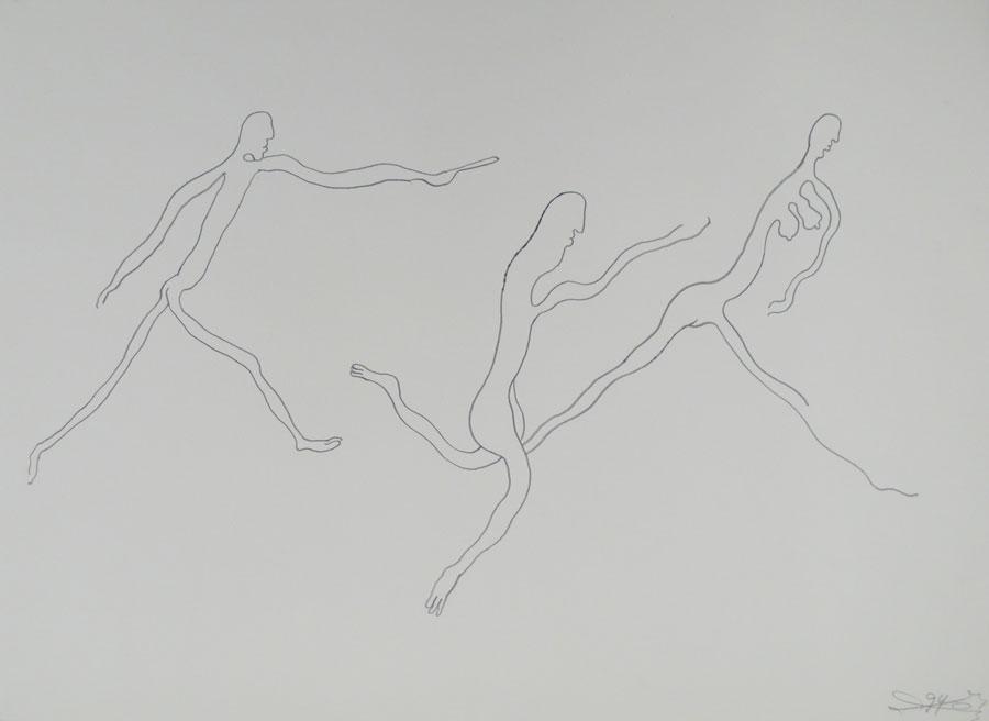 """JAGD"", 1994, 55 x 42 cm, Bleistift auf Papier"