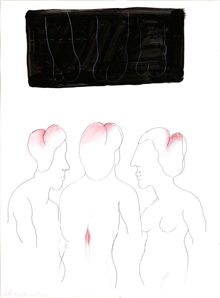 """KOPFSCHMUCK"", 59 x 45 cm, Mischtechnik auf Papier"