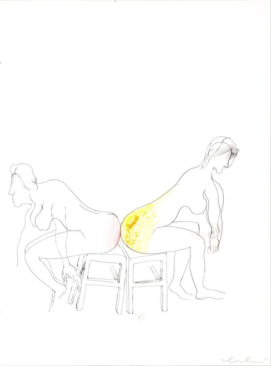 """""""PRIVAT"""", 2006, 59 x 45 cm, Buntstift auf Papier"""