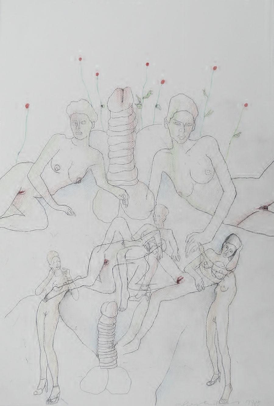 """""""LIEBESSPIELE 3"""", 1985, 44 x 30 cm, Buntstift auf Papier"""